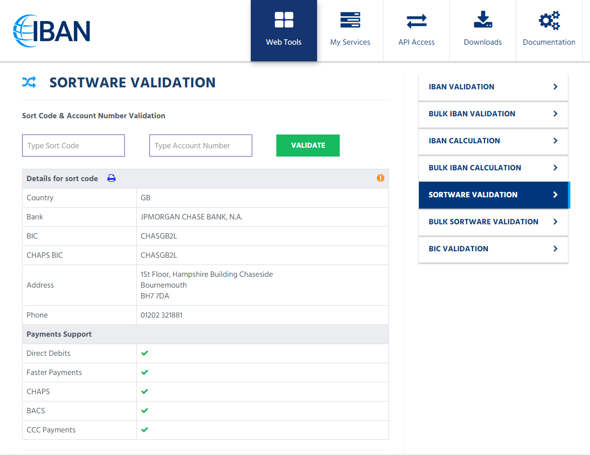 SortWare: Sort Code Checker & UK Bank Account Validation API