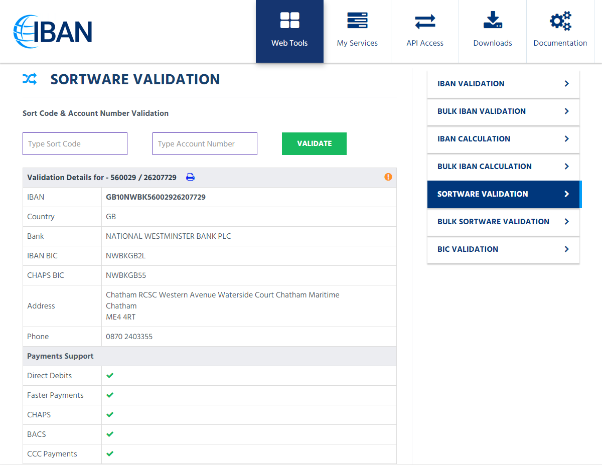 Automated sort code validation – bank account checker uk